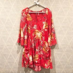 Free People pink floral print v neck dress size 4